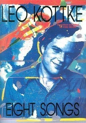 cover of Leo Kottke in shade of blues and top of guitar in shades of red and a few splash of yellow