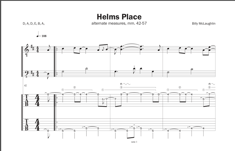 Billy McLaughlin Helms Place transcription sample